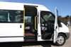 14-Seater Ford Transit side view with opened doors